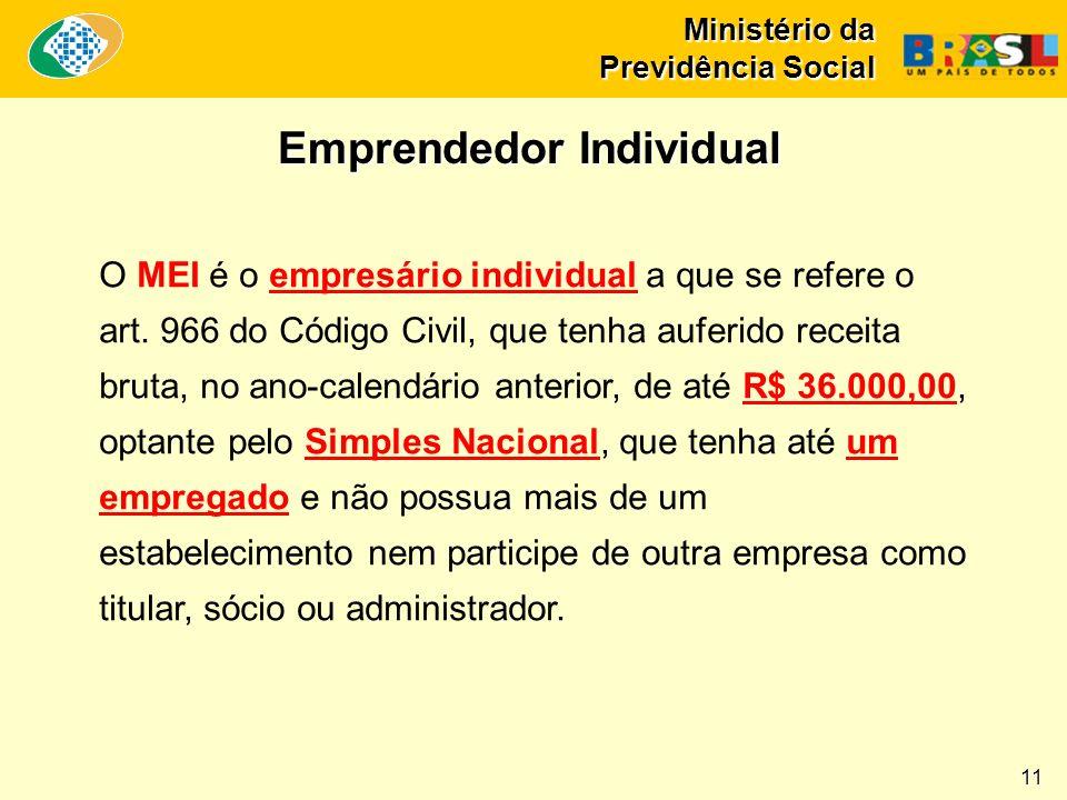 Ministério da Previdência Social O MEI é o empresário individual a que se refere o art. 966 do Código Civil, que tenha auferido receita bruta, no ano-