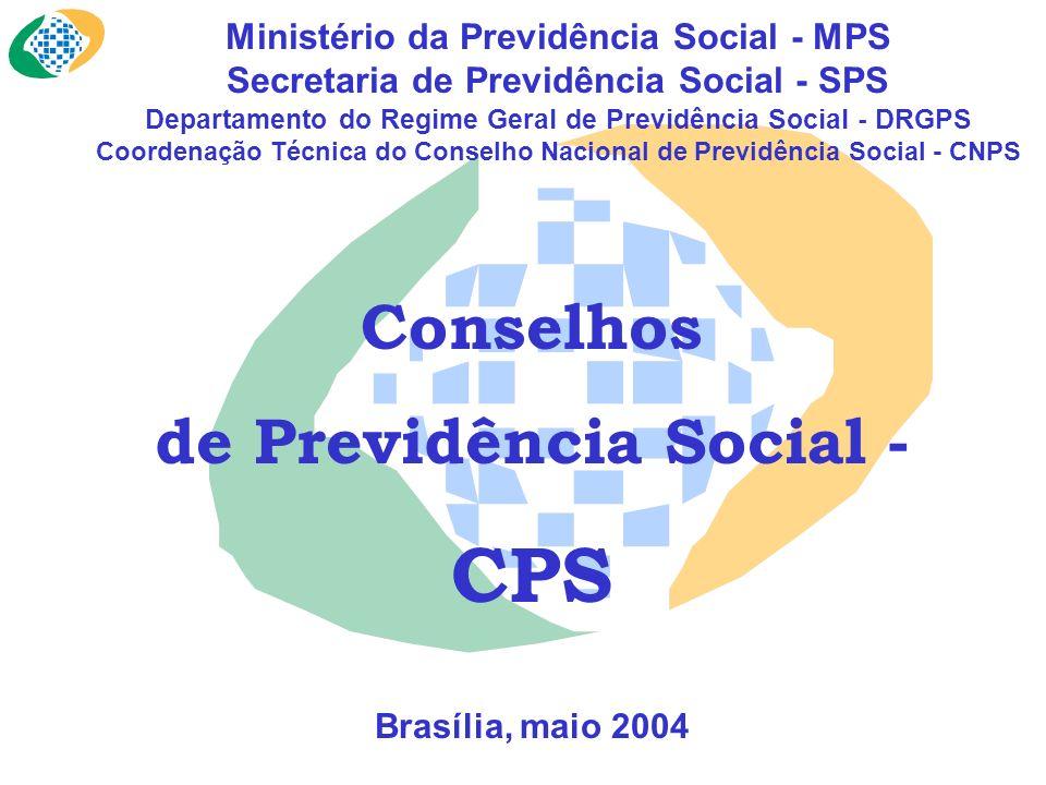 Ministério da Previdência Social - MPS Secretaria de Previdência Social - SPS Departamento do Regime Geral de Previdência Social - DRGPS Coordenação Técnica do Conselho Nacional de Previdência Social - CNPS Conselhos de Previdência Social - CPS Brasília, maio 2004