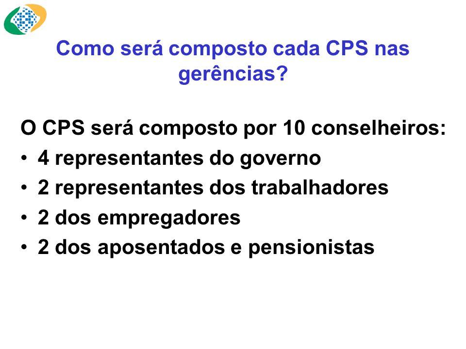 Como será composto cada CPS nas gerências.