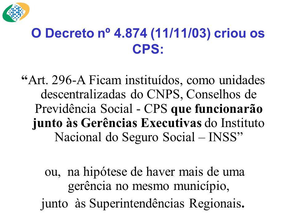 O Decreto nº 4.874 (11/11/03) criou os CPS: Art. 296-A Ficam instituídos, como unidades descentralizadas do CNPS, Conselhos de Previdência Social - CP