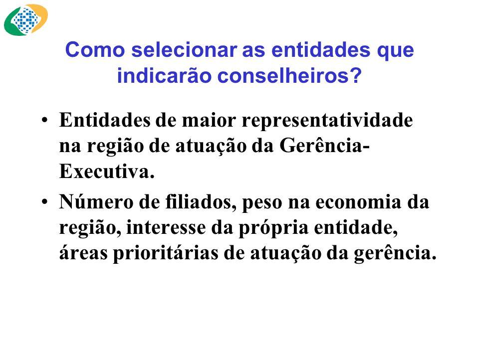 Como selecionar as entidades que indicarão conselheiros? Entidades de maior representatividade na região de atuação da Gerência- Executiva. Número de