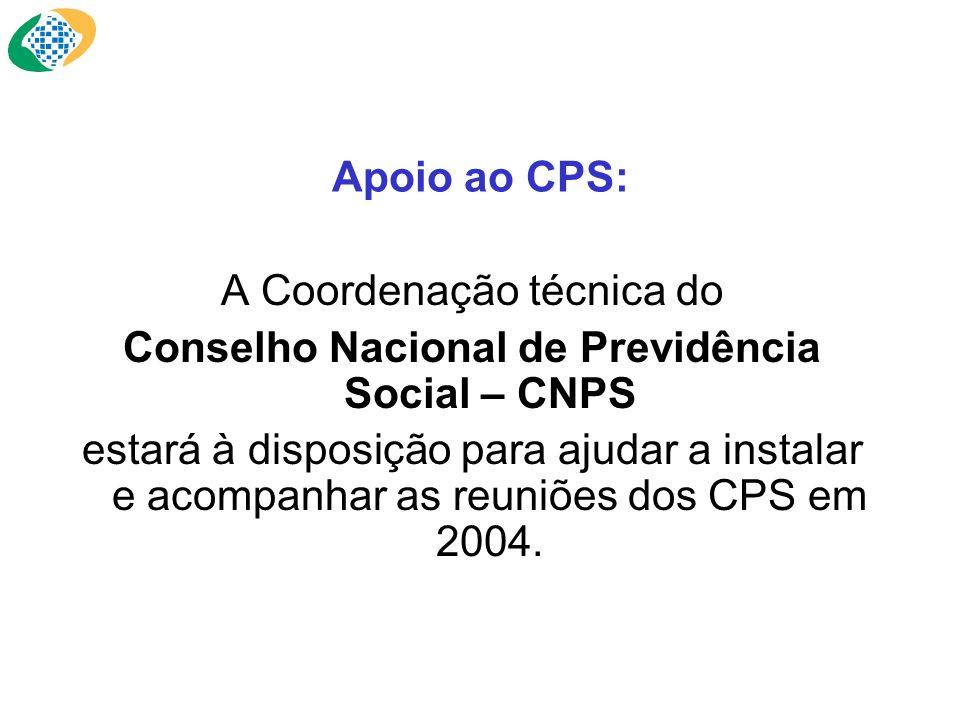 Apoio ao CPS: A Coordenação técnica do Conselho Nacional de Previdência Social – CNPS estará à disposição para ajudar a instalar e acompanhar as reuni