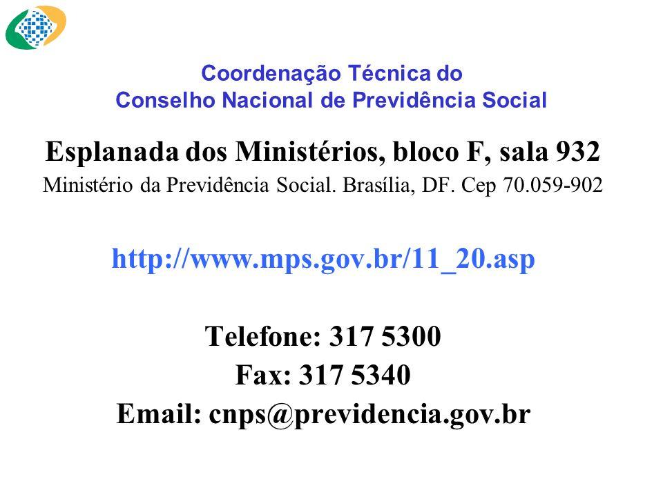 Coordenação Técnica do Conselho Nacional de Previdência Social Esplanada dos Ministérios, bloco F, sala 932 Ministério da Previdência Social. Brasília