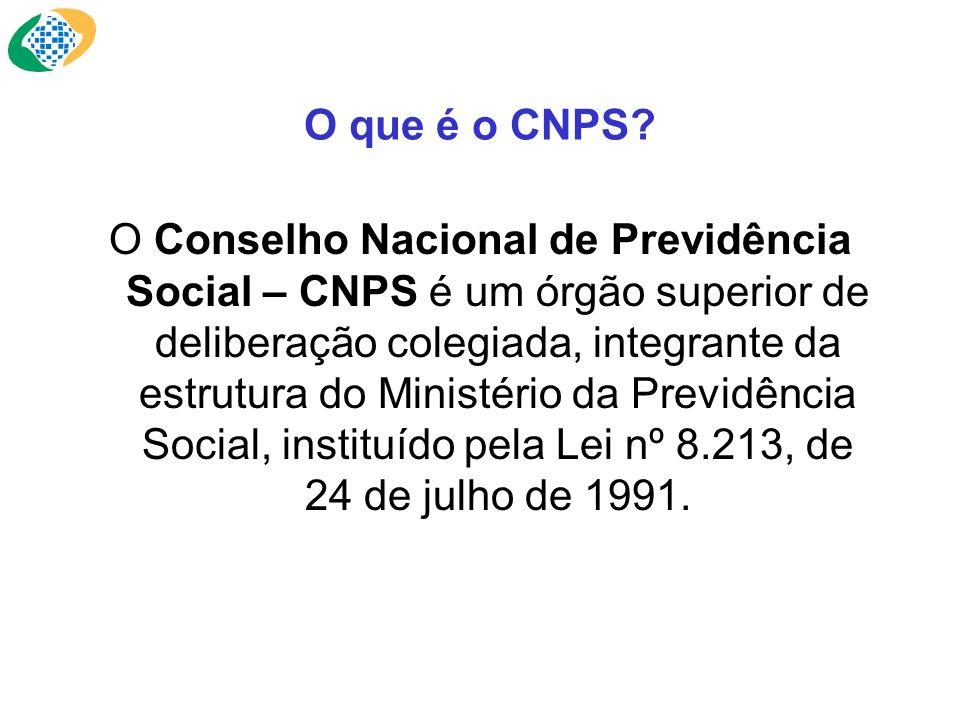 O que é o CNPS? O Conselho Nacional de Previdência Social – CNPS é um órgão superior de deliberação colegiada, integrante da estrutura do Ministério d