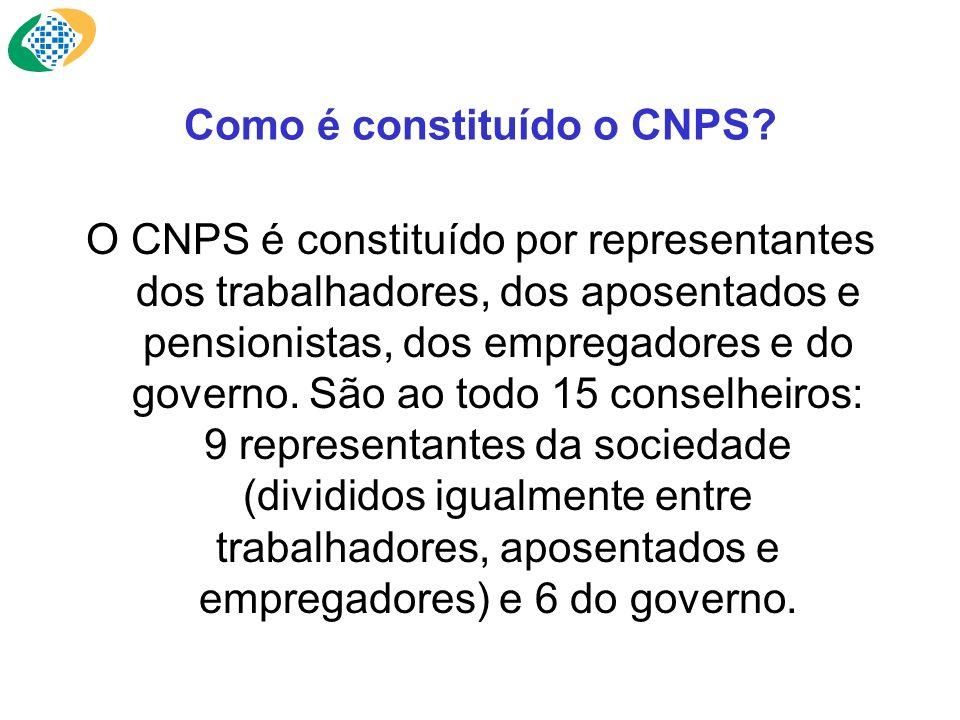 Como é constituído o CNPS? O CNPS é constituído por representantes dos trabalhadores, dos aposentados e pensionistas, dos empregadores e do governo. S