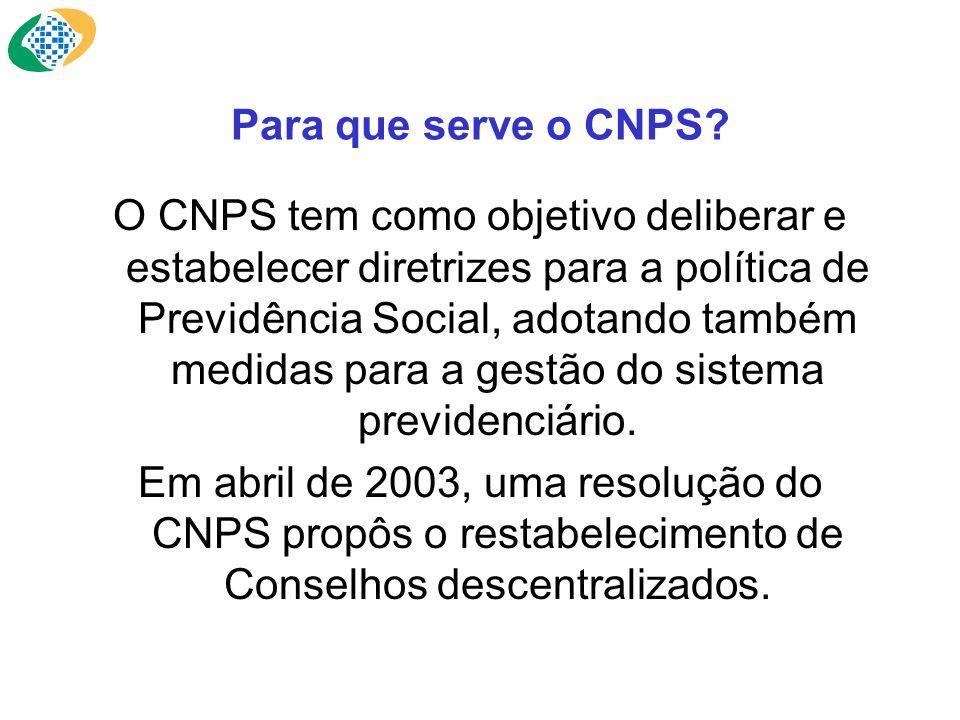 Para que serve o CNPS? O CNPS tem como objetivo deliberar e estabelecer diretrizes para a política de Previdência Social, adotando também medidas para