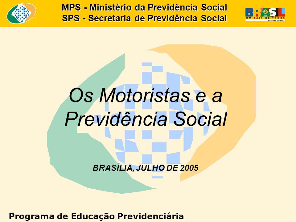 MPS - Ministério da Previdência Social SPS - Secretaria de Previdência Social Os Motoristas e a Previdência Social BRASÍLIA, JULHO DE 2005 Programa de Educação Previdenciária