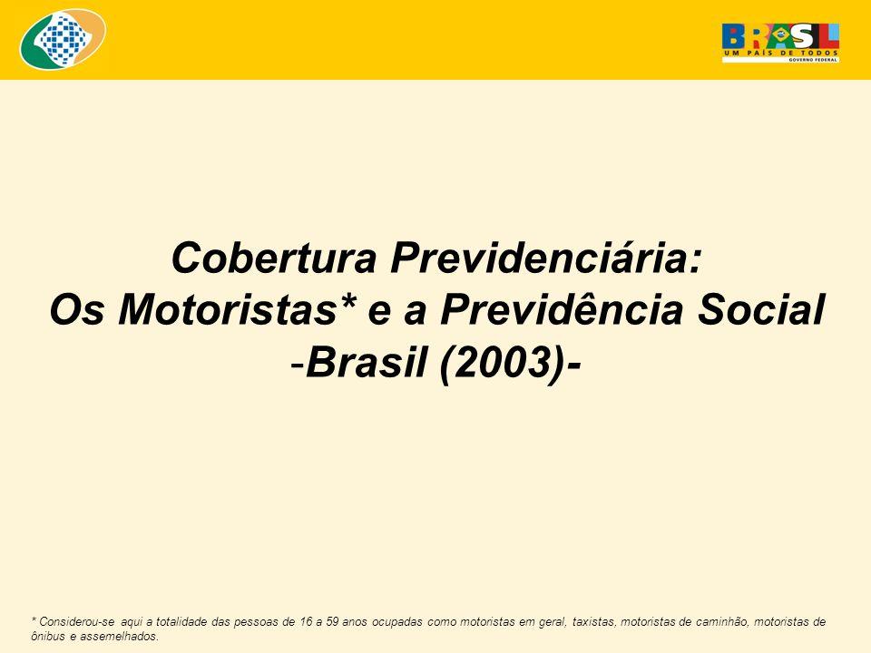 Cobertura Previdenciária: Os Motoristas* e a Previdência Social -Brasil (2003)- * Considerou-se aqui a totalidade das pessoas de 16 a 59 anos ocupadas como motoristas em geral, taxistas, motoristas de caminhão, motoristas de ônibus e assemelhados.