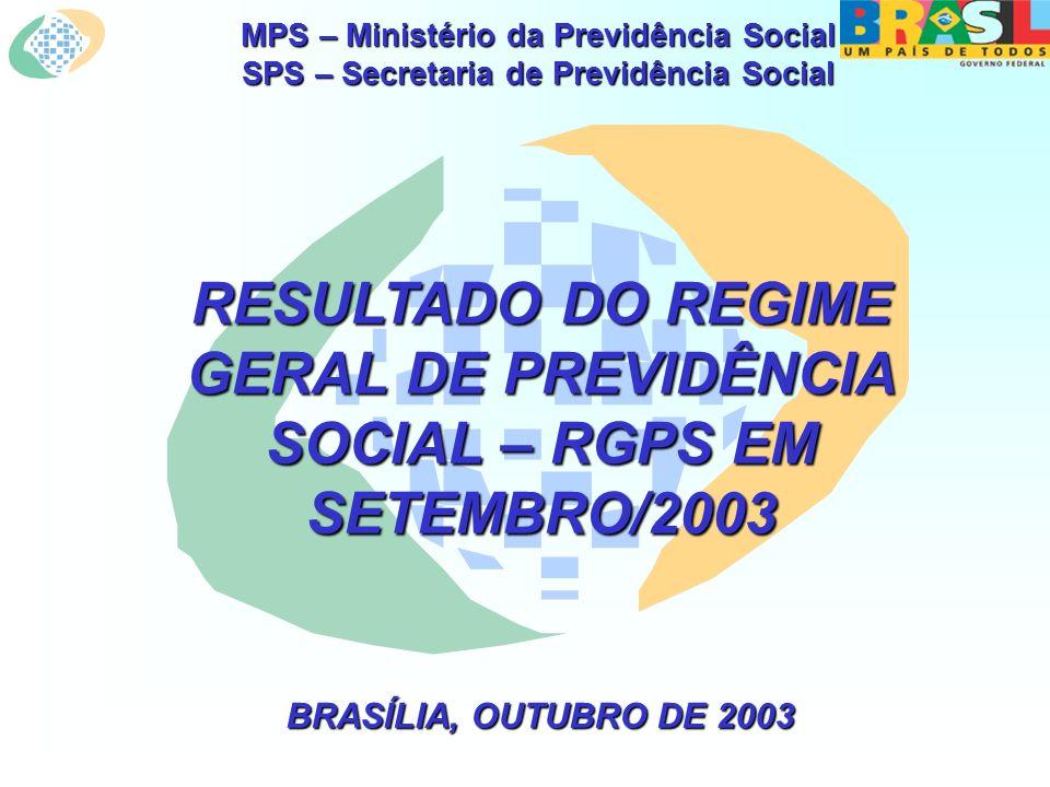 MPS – Ministério da Previdência Social SPS – Secretaria de Previdência Social RESULTADO DO REGIME GERAL DE PREVIDÊNCIA SOCIAL – RGPS EM SETEMBRO/2003 BRASÍLIA, OUTUBRO DE 2003