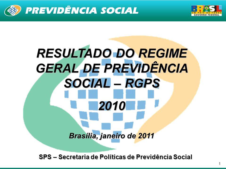 1 RESULTADO DO REGIME GERAL DE PREVIDÊNCIA SOCIAL – RGPS 2010 Brasília, janeiro de 2011 SPS – Secretaria de Políticas de Previdência Social