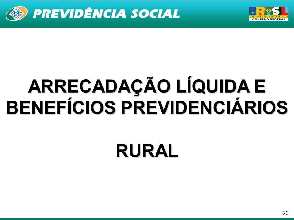 20 ARRECADAÇÃO LÍQUIDA E BENEFÍCIOS PREVIDENCIÁRIOS RURAL