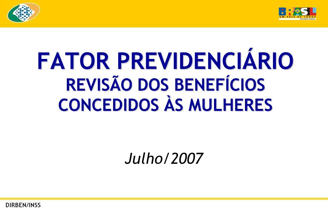 DIRBEN/INSS REVISÃO DE BENEFÍCIOS CONCEDIDOS AS MULHERES No período de 29.11.1999 a 27.03.2007 foram concedidos 615.000 benefícios por idade a mulheres.