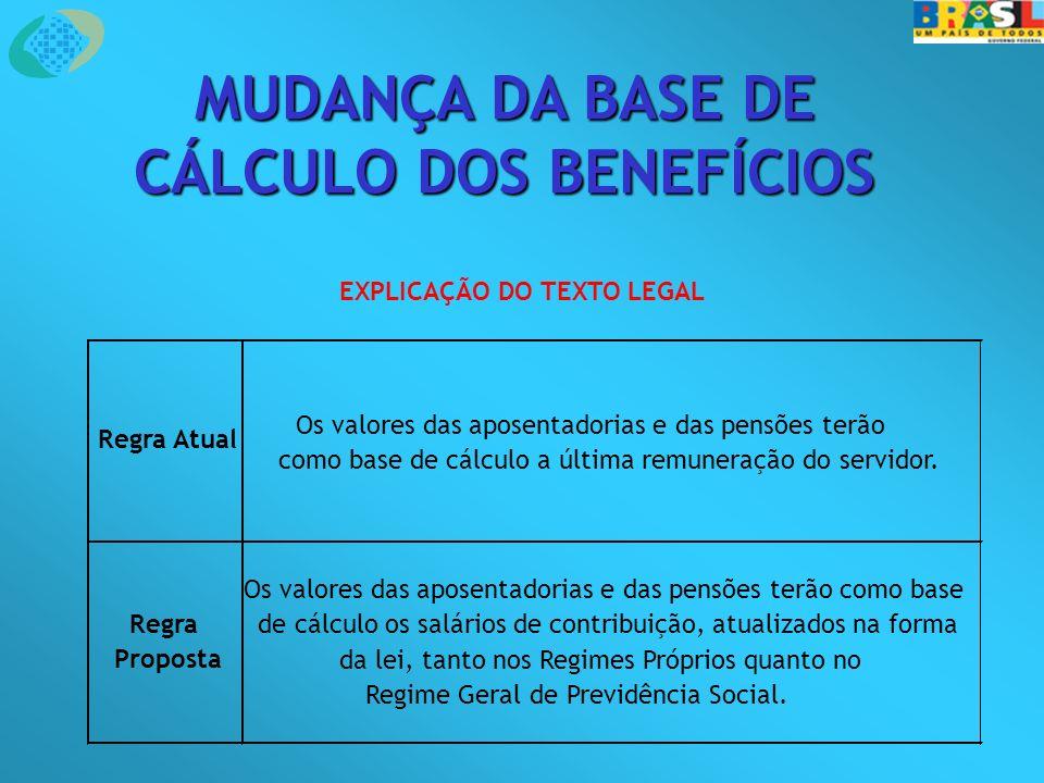 MUDANÇA DA BASE DE CÁLCULO DOS BENEFÍCIOS EXPLICAÇÃO DO TEXTO LEGAL Regra Atual Os valores das aposentadorias e das pensões terão como base de cálculo