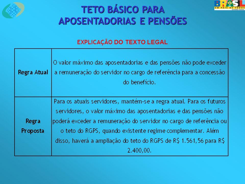 TETO BÁSICO PARA APOSENTADORIAS E PENSÕES EXPLICAÇÃO DO TEXTO LEGAL