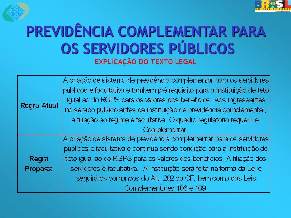 PREVIDÊNCIA COMPLEMENTAR PARA OS SERVIDORES PÚBLICOS OS SERVIDORES PÚBLICOS EXPLICAÇÃO DO TEXTO LEGAL