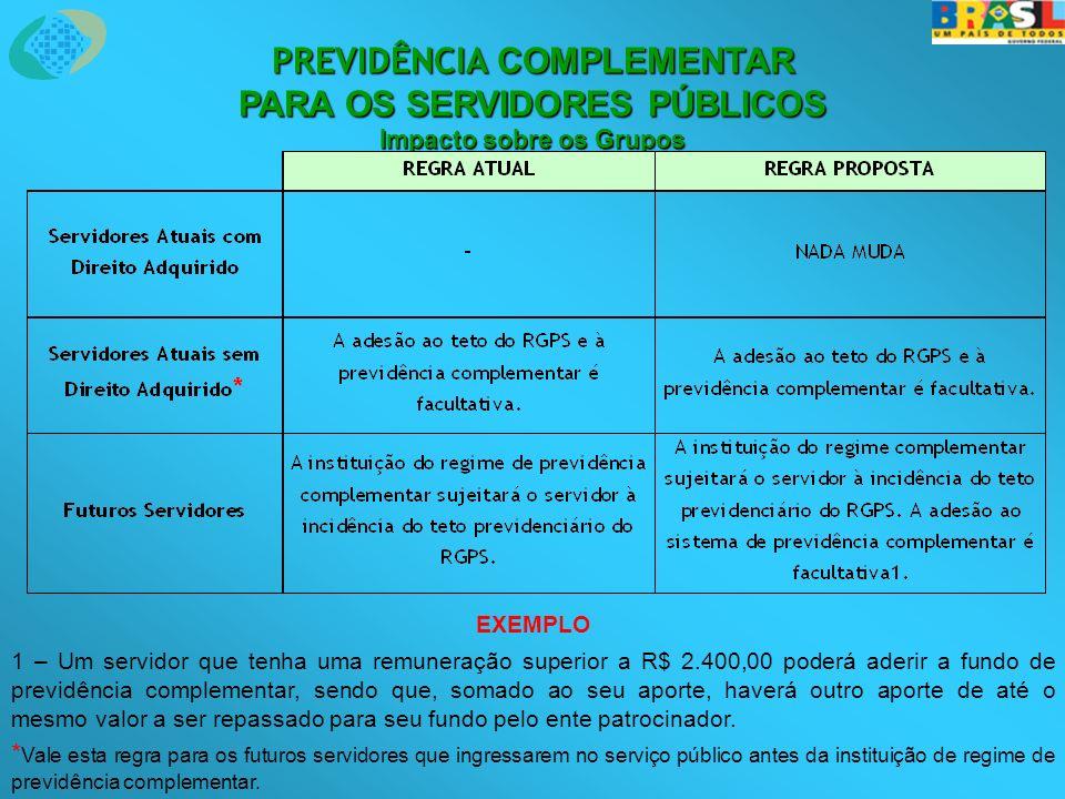 EXEMPLO 1 – Um servidor que tenha uma remuneração superior a R$ 2.400,00 poderá aderir a fundo de previdência complementar, sendo que, somado ao seu a