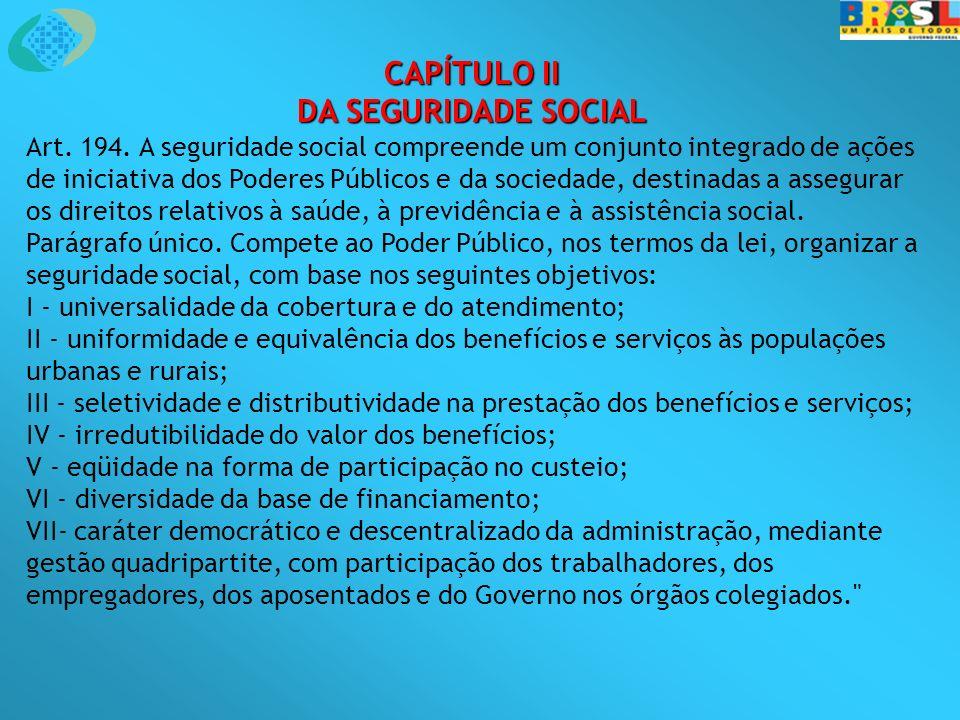 CAPÍTULO II DA SEGURIDADE SOCIAL Art. 194. A seguridade social compreende um conjunto integrado de ações de iniciativa dos Poderes Públicos e da socie