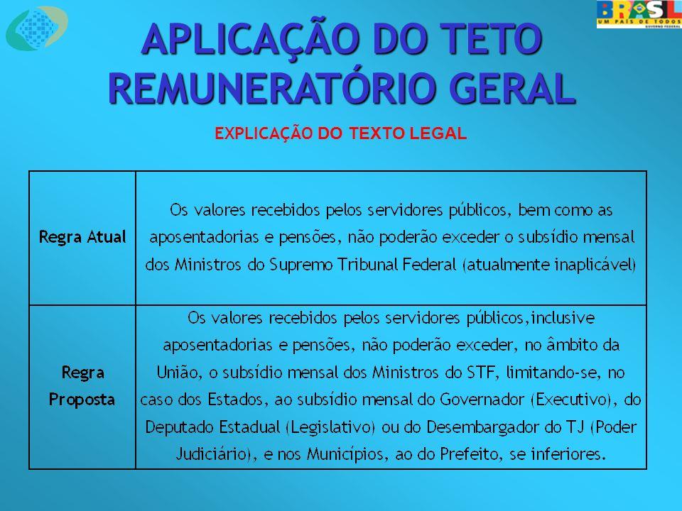 APLICAÇÃO DO TETO REMUNERATÓRIO GERAL EXPLICAÇÃO DO TEXTO LEGAL