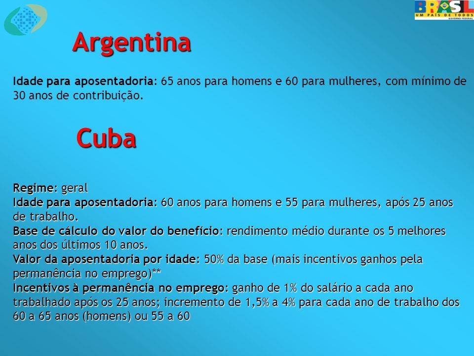 Argentina Idade para aposentadoria: 65 anos para homens e 60 para mulheres, com mínimo de 30 anos de contribuição. Cuba Regime: geral Idade para apose
