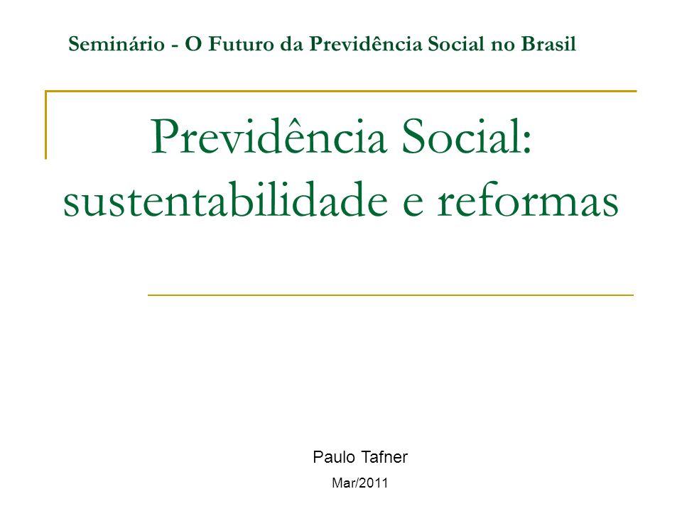 Previdência Social: sustentabilidade e reformas Paulo Tafner Mar/2011 Seminário - O Futuro da Previdência Social no Brasil