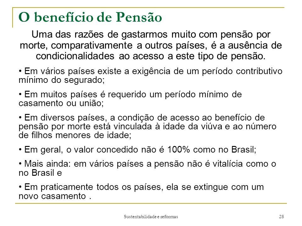 Sustentabilidade e reformas 28 O benefício de Pensão Uma das razões de gastarmos muito com pensão por morte, comparativamente a outros países, é a ausência de condicionalidades ao acesso a este tipo de pensão.