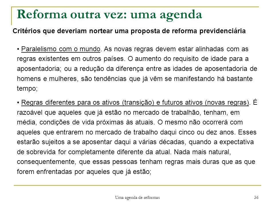 Uma agenda de reformas 36 Reforma outra vez: uma agenda Critérios que deveriam nortear uma proposta de reforma previdenciária Paralelismo com o mundo.