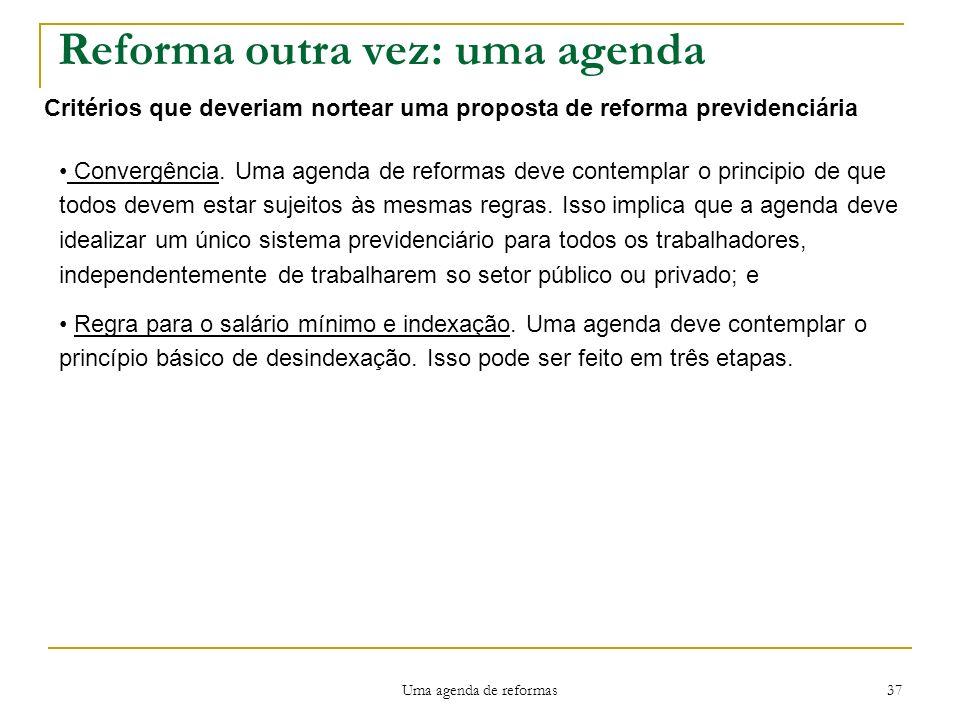 Uma agenda de reformas 37 Reforma outra vez: uma agenda Critérios que deveriam nortear uma proposta de reforma previdenciária Convergência.