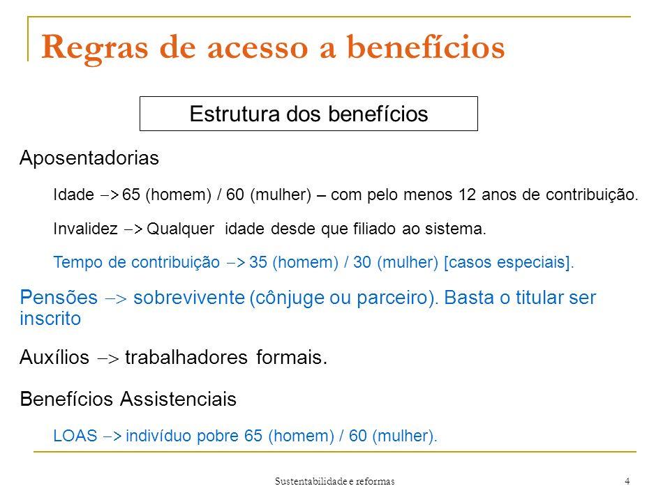 Sustentabilidade e reformas 4 Regras de acesso a benefícios Estrutura dos benefícios Aposentadorias Idade 65 (homem) / 60 (mulher) – com pelo menos 12 anos de contribuição.