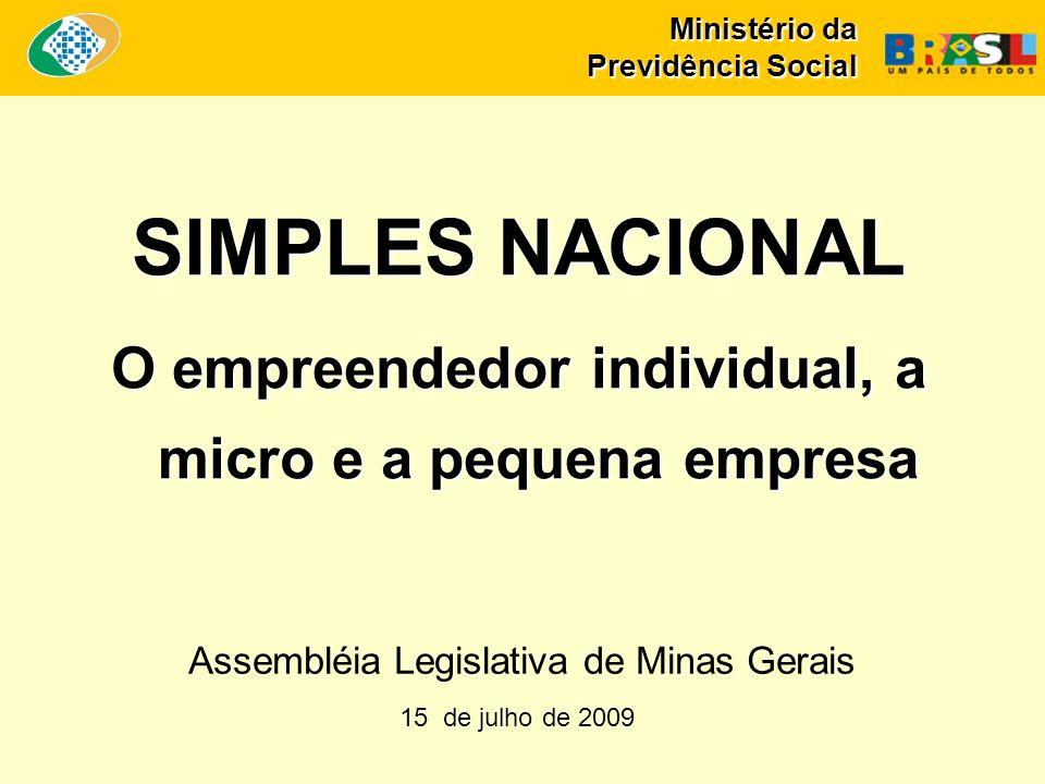 Ministério da Previdência Social SIMPLES NACIONAL O empreendedor individual, a micro e a pequena empresa 15 de julho de 2009 Assembléia Legislativa de Minas Gerais