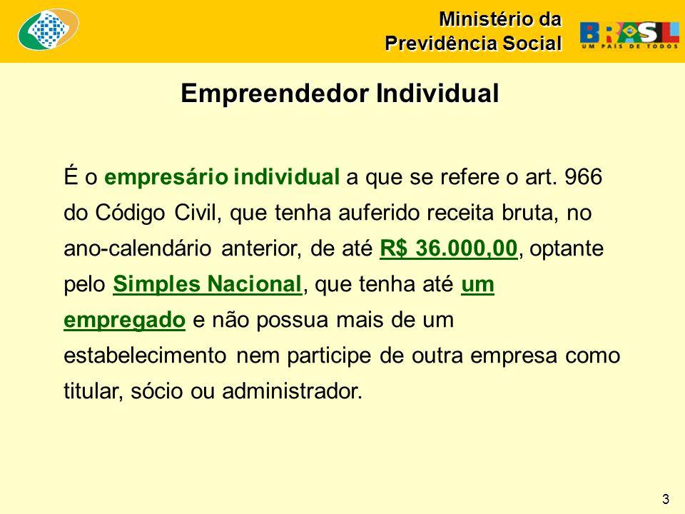 Ministério da Previdência Social É o empresário individual a que se refere o art.