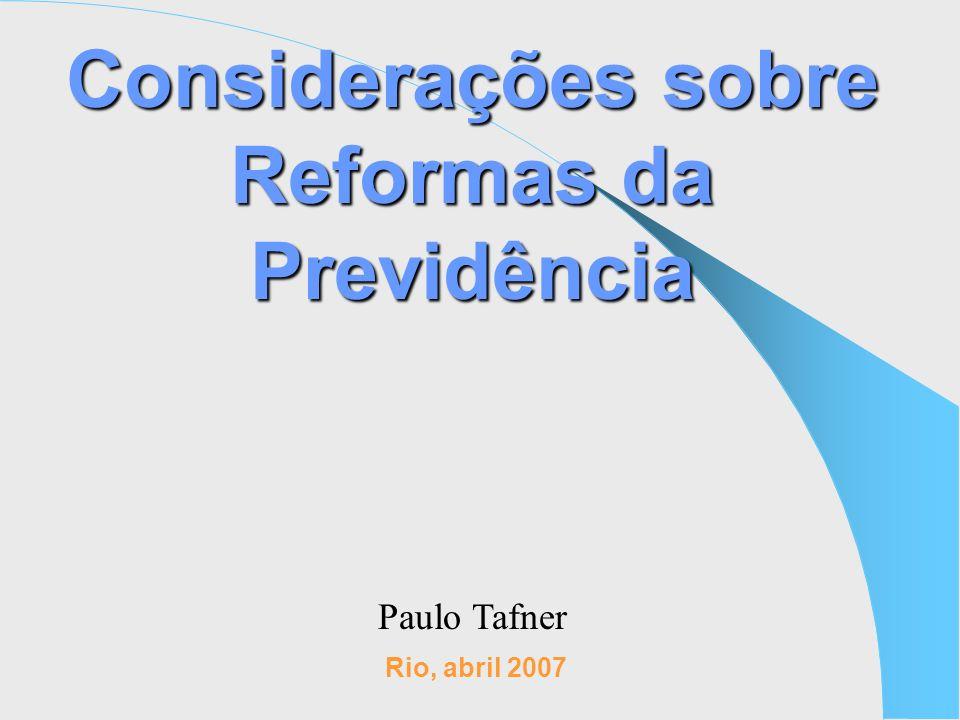 Considerações sobre Reformas da Previdência Rio, abril 2007 Paulo Tafner