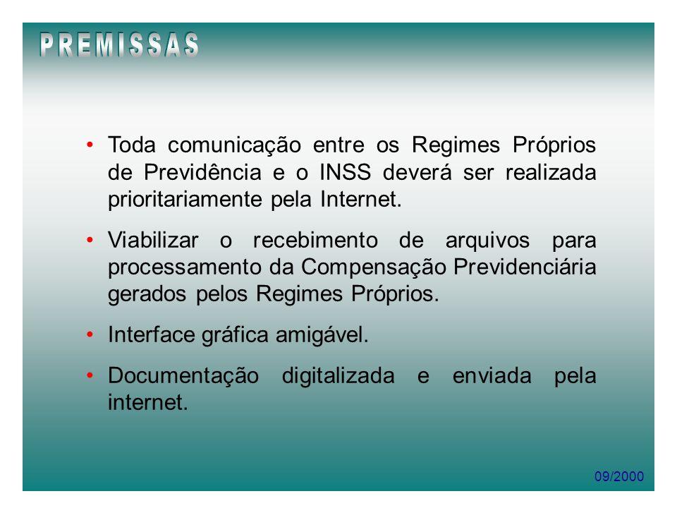 09/2000 Toda comunicação entre os Regimes Próprios de Previdência e o INSS deverá ser realizada prioritariamente pela Internet. Viabilizar o recebimen