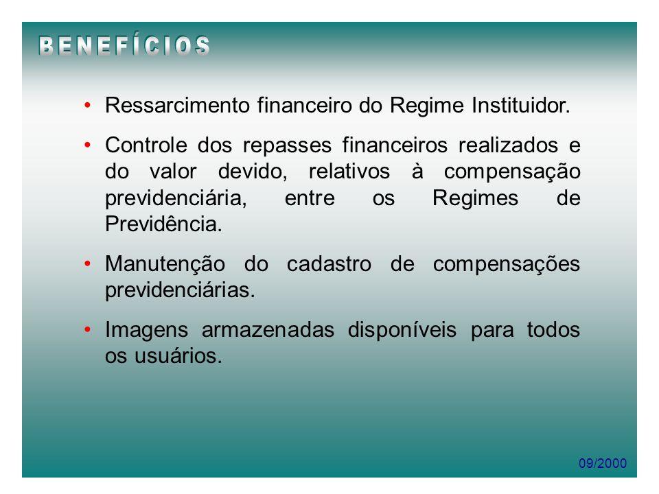 09/2000 Ressarcimento financeiro do Regime Instituidor. Controle dos repasses financeiros realizados e do valor devido, relativos à compensação previd