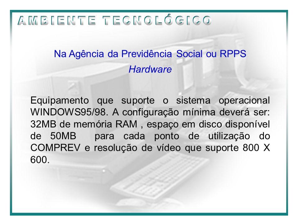 09/2000 Na Agência da Previdência Social ou RPPS Hardware Equipamento que suporte o sistema operacional WINDOWS95/98. A configuração mínima deverá ser