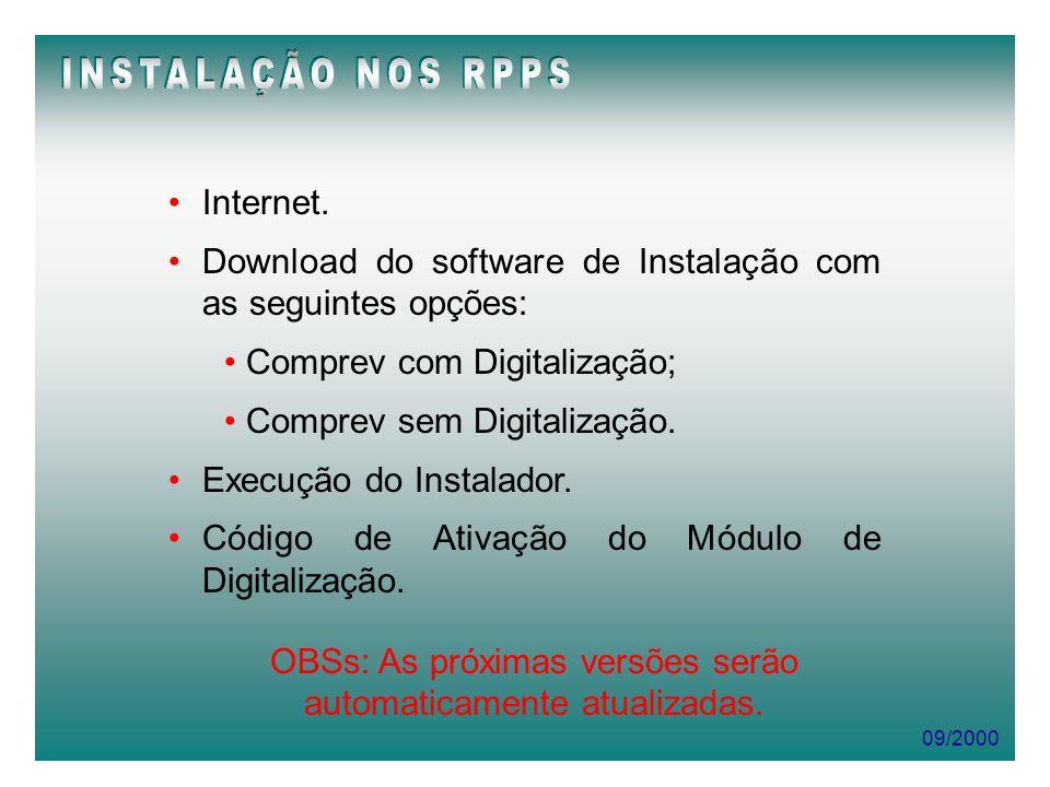 09/2000 Internet. Download do software de Instalação com as seguintes opções: Comprev com Digitalização; Comprev sem Digitalização. Execução do Instal