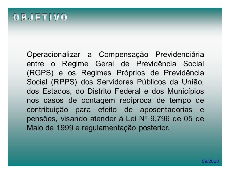 09/2000 Operacionalizar a Compensação Previdenciária entre o Regime Geral de Previdência Social (RGPS) e os Regimes Próprios de Previdência Social (RP
