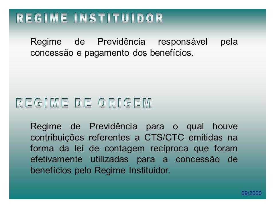09/2000 Regime de Previdência responsável pela concessão e pagamento dos benefícios. Regime de Previdência para o qual houve contribuições referentes