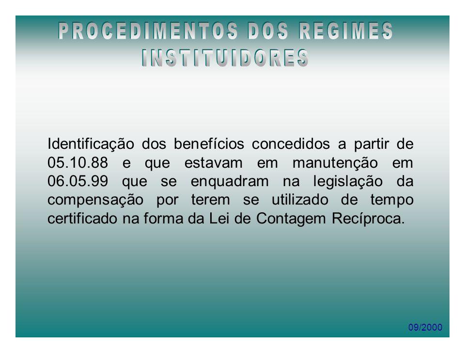 09/2000 Identificação dos benefícios concedidos a partir de 05.10.88 e que estavam em manutenção em 06.05.99 que se enquadram na legislação da compens
