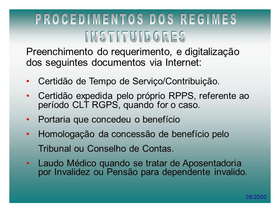 09/2000 Preenchimento do requerimento, e digitalização dos seguintes documentos via Internet: Certidão de Tempo de Serviço/Contribuição. Certidão expe