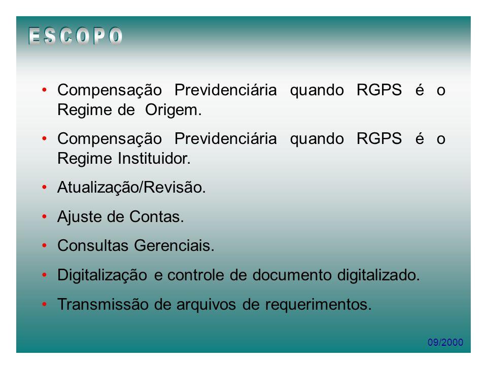 09/2000 Compensação Previdenciária quando RGPS é o Regime de Origem. Compensação Previdenciária quando RGPS é o Regime Instituidor. Atualização/Revisã