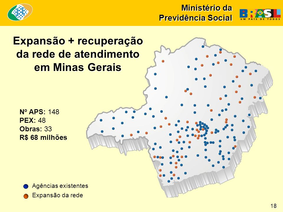 Ministério da Previdência Social Nº APS: 148 PEX: 48 Obras: 33 R$ 68 milhões Expansão + recuperação da rede de atendimento em Minas Gerais Agências existentes Expansão da rede 18
