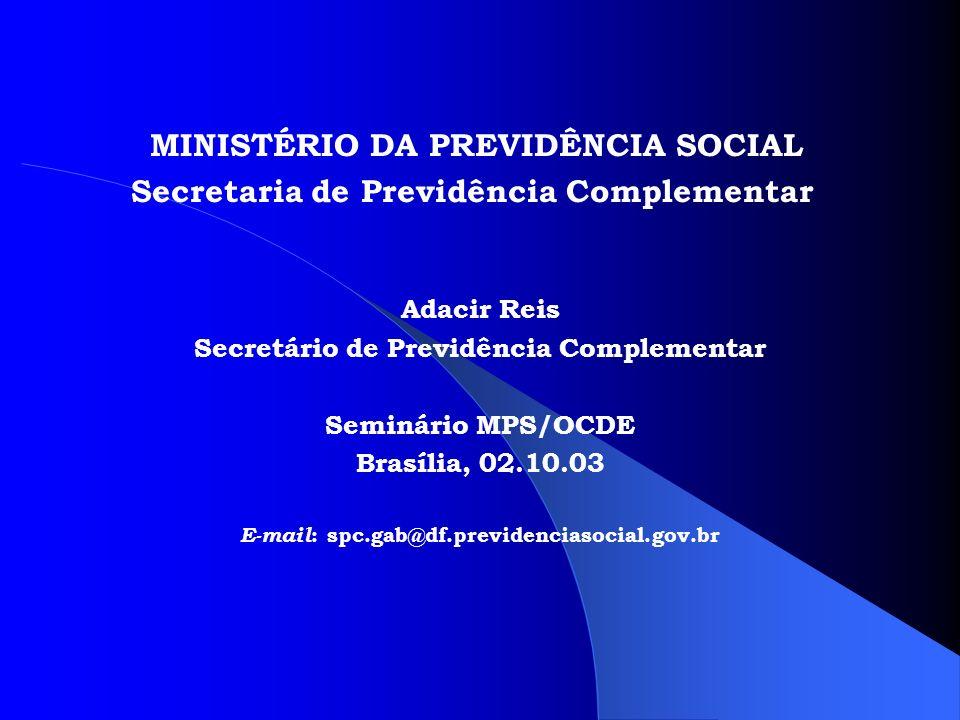 MINISTÉRIO DA PREVIDÊNCIA SOCIAL Secretaria de Previdência Complementar Adacir Reis Secretário de Previdência Complementar Seminário MPS/OCDE Brasília