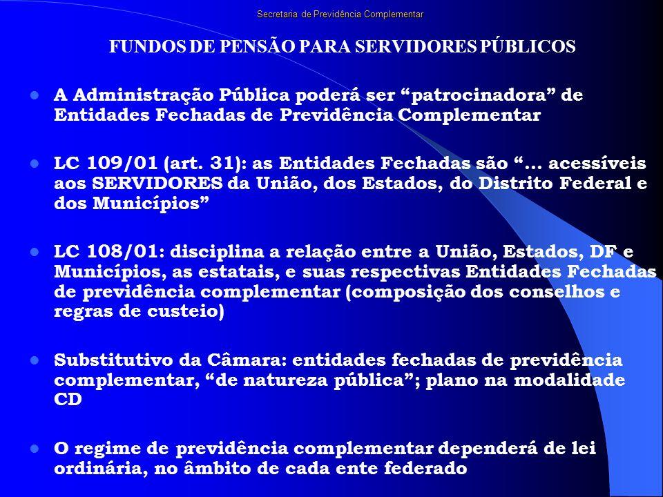 Secretaria de Previdência Complementar FUNDOS DE PENSÃO PARA SERVIDORES PÚBLICOS A Administração Pública poderá ser patrocinadora de Entidades Fechada