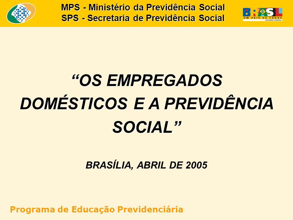 OS EMPREGADOS DOMÉSTICOS E A PREVIDÊNCIA SOCIAL BRASÍLIA, ABRIL DE 2005 MPS - Ministério da Previdência Social SPS - Secretaria de Previdência Social