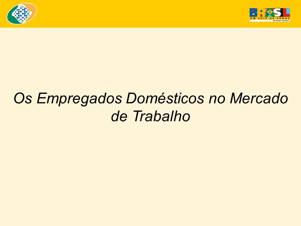 Os Empregados Domésticos no Mercado de Trabalho - 2003 Formalização dos Empregados Domésticos no Brasil – 1996 a 2003 Fonte: Microdados PNAD 1996 a 2003.