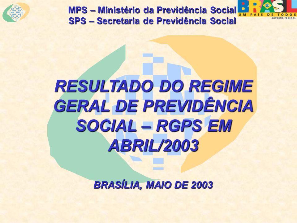 MPS – Ministério da Previdência Social SPS – Secretaria de Previdência Social RESULTADO DO REGIME GERAL DE PREVIDÊNCIA SOCIAL – RGPS EM ABRIL/2003 BRASÍLIA, MAIO DE 2003