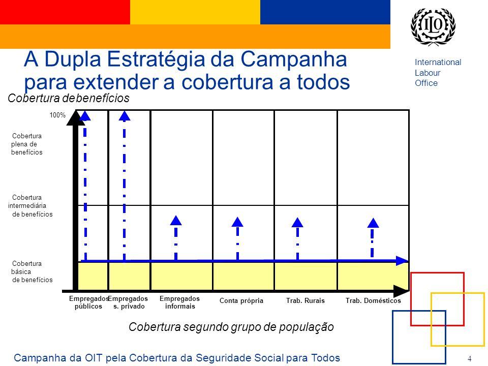 International Labour Office 4 A Dupla Estratégia da Campanha para extender a cobertura a todos Campanha da OIT pela Cobertura da Seguridade Social par