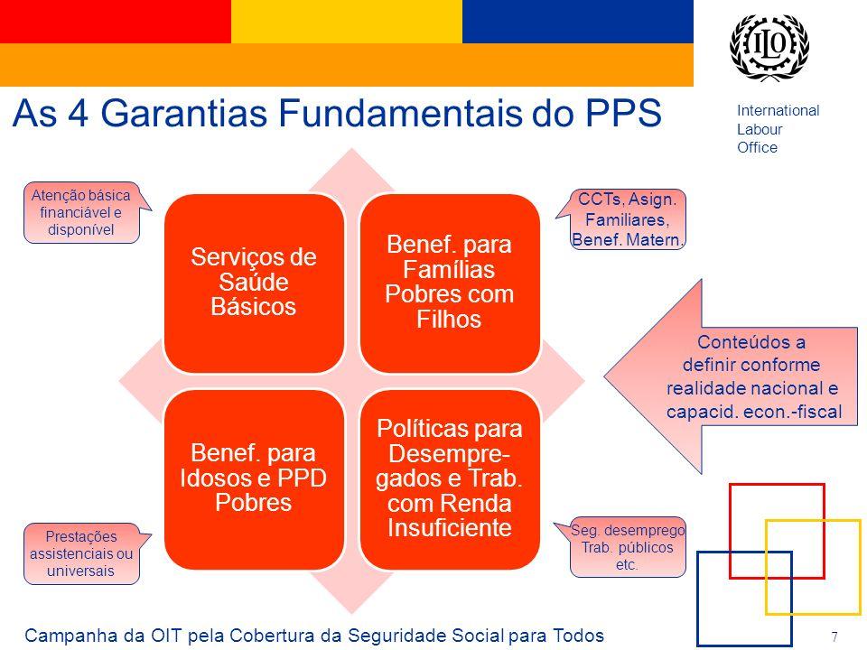 International Labour Office 7 As 4 Garantias Fundamentais do PPS Campanha da OIT pela Cobertura da Seguridade Social para Todos Serviços de Saúde Bási