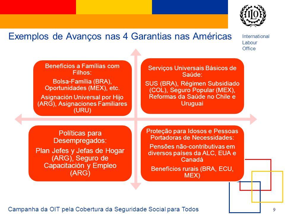 International Labour Office 9 Exemplos de Avanços nas 4 Garantias nas Américas Benefícios a Famílias com Filhos: Bolsa-Família (BRA), Oportunidades (M