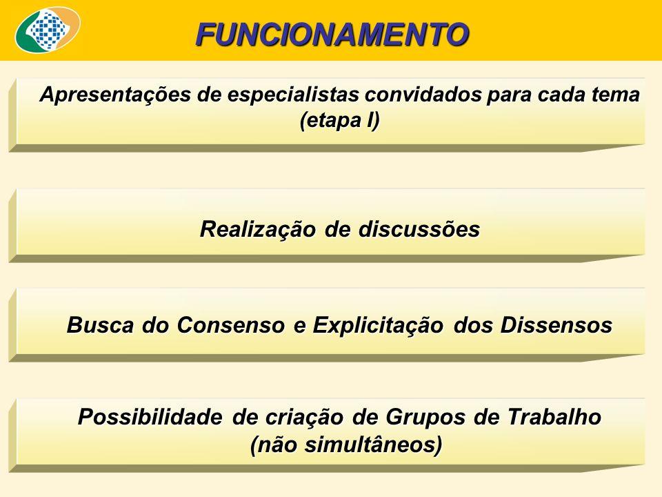 Apresentações de especialistas convidados para cada tema (etapa I) Realização de discussões Busca do Consenso e Explicitação dos Dissensos Possibilidade de criação de Grupos de Trabalho (não simultâneos) FUNCIONAMENTO